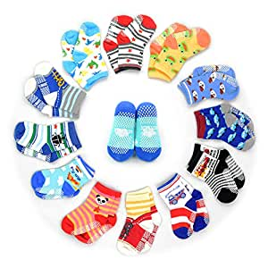 12 Pairs Anti-slip Socks Toddler Socks, HOVEOX Kids Baby Socks Non-Skid Crew Walkers Unisex For 12-36 Months 1-3 Years Baby Boys Girls Lowcut Ankle Cotton Stretch Footsocks Assorted Color Cartoon