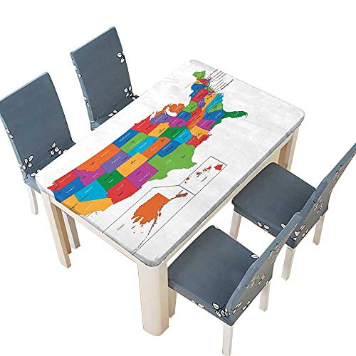 PINAFORE Indoor/Outdoor Spillproof Tablecloth Colorful USA Map with States and Capital Cities Washington Florida Indiana Multi Color Wedding Restaurant Party Decoration W73 x L112 INCH (Elastic -