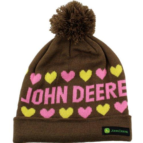 John Deere Girls Beanie Hat (Little Kid/Big Kid) Brown/Pink