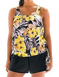 MiYang Plus Size Yellow Floral Print Blouson Plus Size Swimwear Tankini