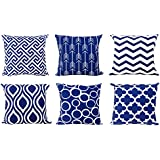 top finel 100 durable canvas square decorative throw pillows cushion covers pillowcases navy for sofa 1 set of 6 size 18 inch18 inch series - Blue Decorative Pillows