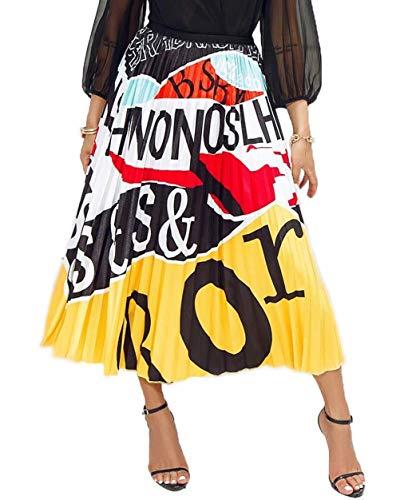 - Women's Graffiti Pleated Skirts Color Block Letter Print Elastic Waist Long Swing Vintage A-Line Midi Skirt Yellow S