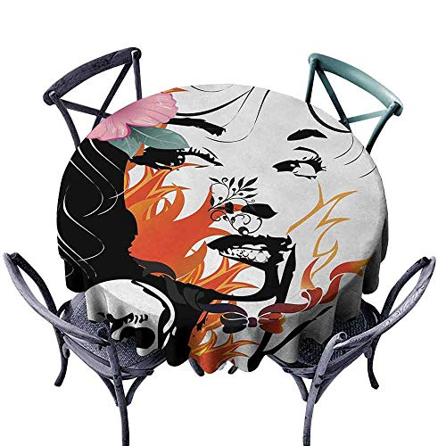 HCCJLCKS Easy Care Tablecloth Tattoo Attractive Women with Pink Flower in her Hair Near a Skull Design Party D67 Orange Pink Black and White]()