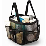 iPEGTOP Portable Mesh Shower Caddy, Quick Dry Shower Tote Hanging Bath & Toiletry Organizer Bag with 9 Storage Pockets, Double Handles for College Dorm, Travel, Gym & Camping, Black
