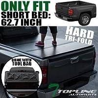 Topline Autopart Solid Hard Tri Fold Tonneau Truck Bed...