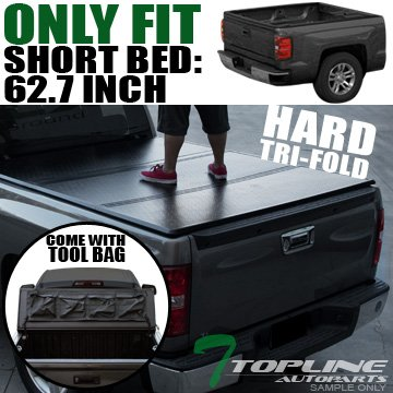 Topline Autopart Solid Hard Tri Fold Tonneau Truck Bed Cover With Tool Bag For 15-18 Chevy Colorado ; GMC Canyon Crew Cab 5 Feet ( 60