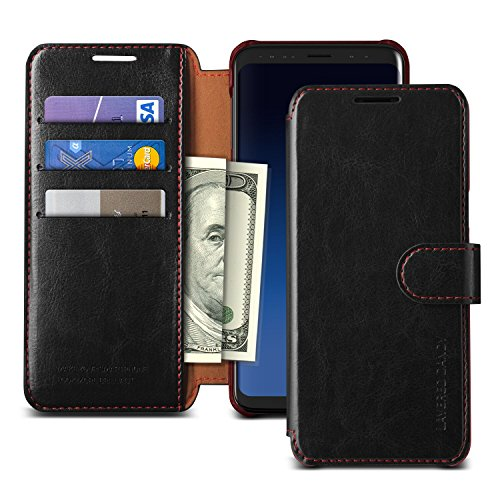 Galaxy S9 Case, VRS DESIGN Drop Protection Cover Classy Slim Premium PU Leather Wallet [Black] ID Credit Card Slot Holder for Samsung Galaxy S9 [Layered Dandy] by VRS DESIGN