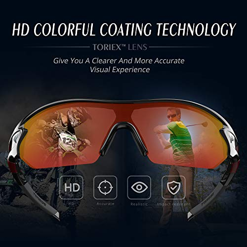 8c9ae73e5522a TOREGE Polarized Sports Sunglasses with 3 Interchangeable Lenes for Men  Women Cycling Running Driving Fishing Golf