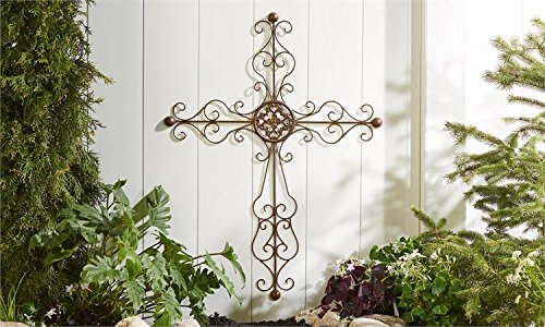 (Sculpted Iron Wall Cross With Scrolling Detail Wall/Home Decor' )