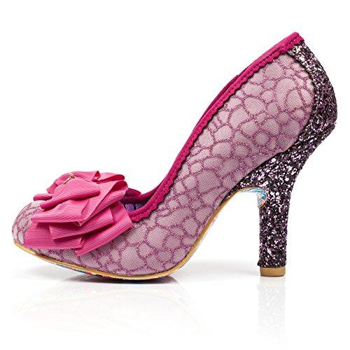 Punta de Mujer Cerrada Choice Irregular White tacón para White Pink Ascot Zapatos con Pink wpYq6F