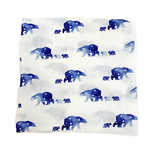 Bear Nursery Hugs (Little Luvies Digitally Printed Luxury Swaddle Blanket (Mamabear) | Bear Baby Swaddle Wrap and Receiving Blanket | Ultra Soft Bamboo Baby Swaddle Blanket | Best Gender Neutral Baby Gift Boy and Girl)