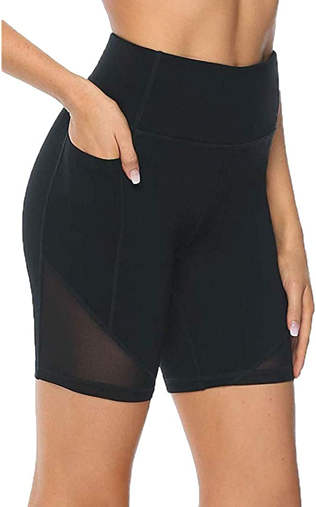Solid Elastic High Waist Sides Hollow Sports Tight Stretch Basic Boxer Shorts