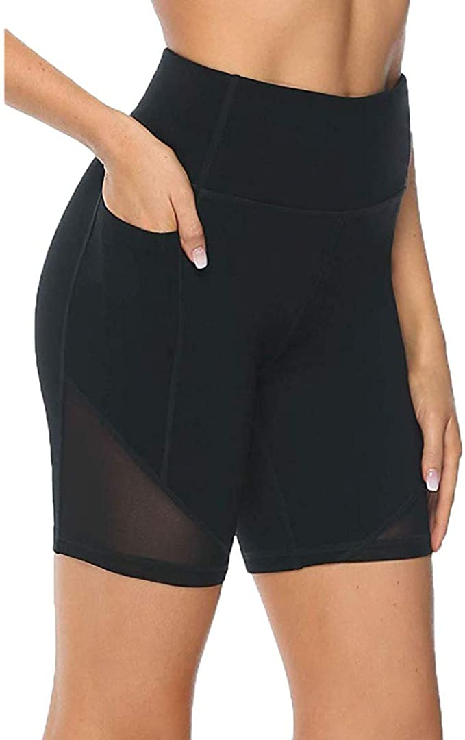 Bike Shorts with Pockets Women Hessimy Womens High Waist Workout Yoga Running Compression Exercise Shorts Side Pockets