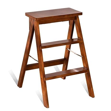 Taburete de escalera Escalera de madera plegable de tres ...