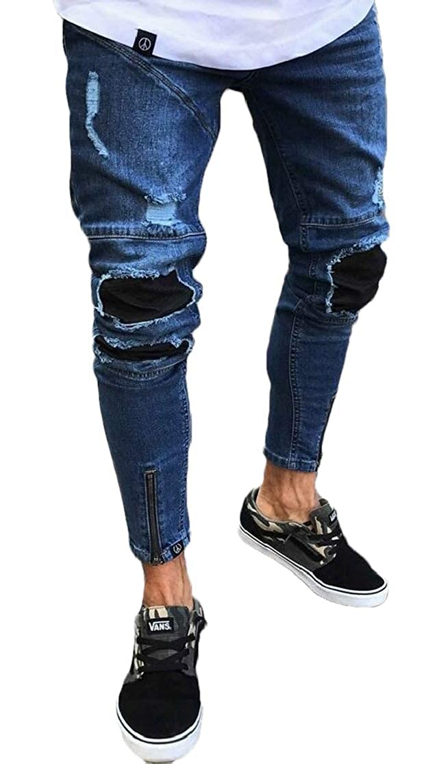 BU2H Men Zip Trim Stylish Ruched Slim Fit Ripped Denim Jeans Pants