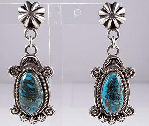 Terry Martinez Handmade Sterling Silver Navajo Dangle Earrings Natural Morenci -