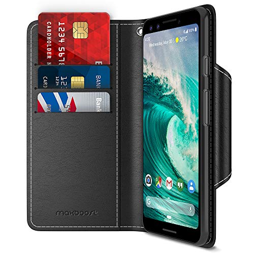 Google Pixel 3 Case, Maxboost [Folio Style] Wallet Case for Google Pixel 3 [Stand Feature] (Black) Protective PU Leather Flip Cover with Card Slot + Side Pocket Magnetic - Style 3 Case
