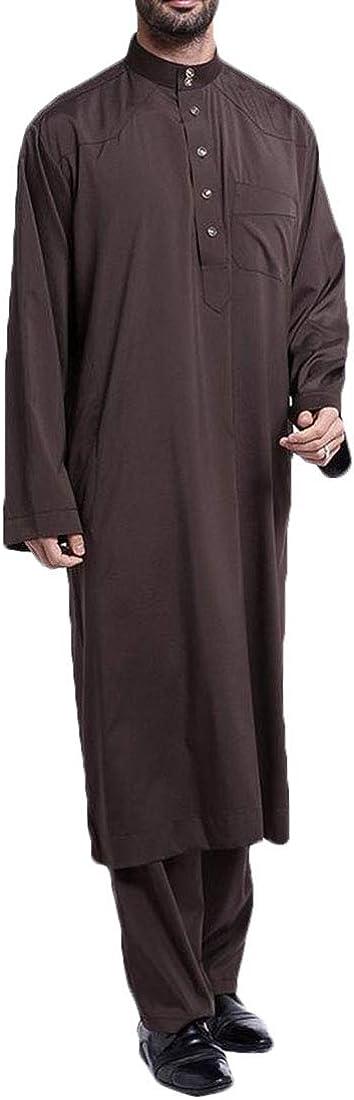 XiaoTianXinMen XTX Men Muslim Wear Long Sleeve 2 Pcs Outfits Arab Thobe Pants Coffee US 2XL