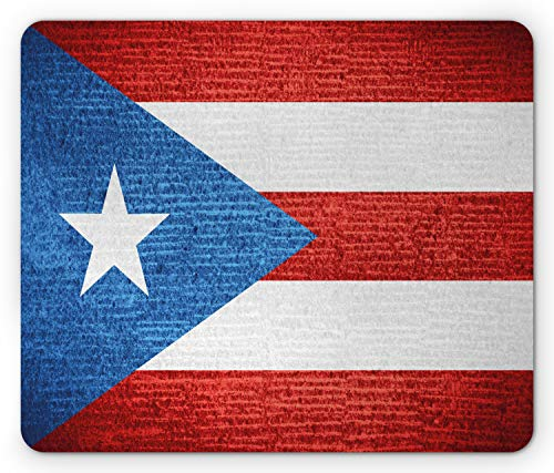 Lunarable Puerto Rico Mouse Pad, Stripe Style Rows Pattern Grunge Arrangement with Patriot Flag, Standard Size Rectangle Non-Slip Rubber Mousepad, Blue Vermilion and White