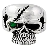 Scarface Bandit Skull Green Cubic Zirconia One Eye