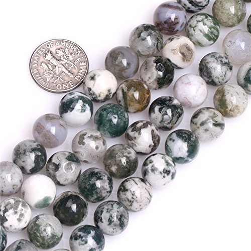 10mm Round Natural Green Moss Tree Agate Stone Beads for Jewelry Making Strand - Beads Tree Green Agate
