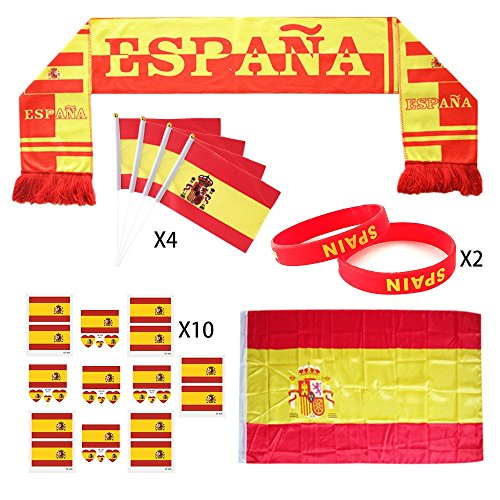 KingShark World Cup 2018 Set, Football Suit Fans Scarf, Spain, Hand Held Flags, Big National Flag, Tattoo Stickers, Silicone Wristbands, Party Club Bar Decorations Festival Celebration