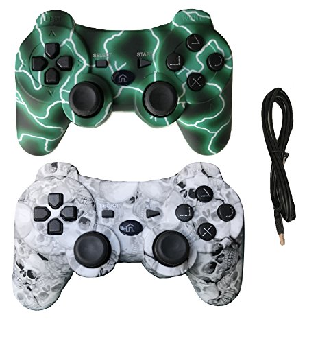 2 Pack Wireless Bluetooth Vibration Controller for PS3, Gamepad Remote for Playstation 3 with Charge Cable - Green Lightning and Skull Models