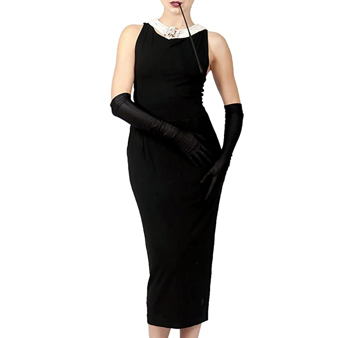 1950s 50s Costumes- Poodle Skirts, Grease, Monroe, Pin up, I Love Lucy Iconic Black Dress from Audrey Hepburn Breakfast at Tiffanys Cotton Version $74.99 AT vintagedancer.com