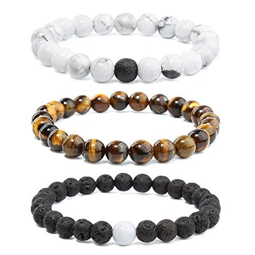 Merymall Stone Bracelet, Natural Gemstones Bracelet Lava Diffuser Bracelet,Genuine Howlite and Tiger Eye Semi-Precious Stone Healing Power Crystal Stretch Beaded Bracelet,Unisex ()