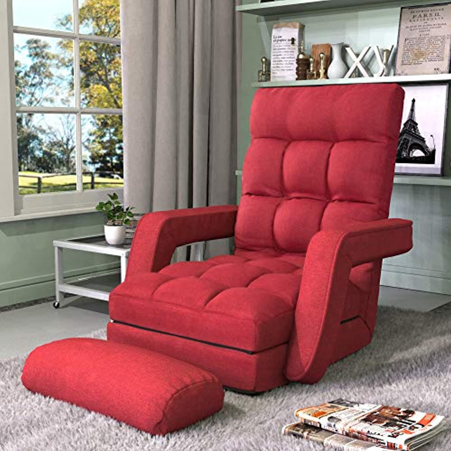 NOSGA Chaise Lounge Sofa Indoor,Folding Lazy Sofa Floor Chair Sofa 5 Position Folding Padded, Lounger Bed with Armrests a Pillow for Living Room Bedroom (Red)