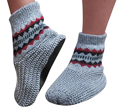 Evelots Warm Snuggle Slippers Warm Vinyl Soles Knit Stretchy Mens, Grey