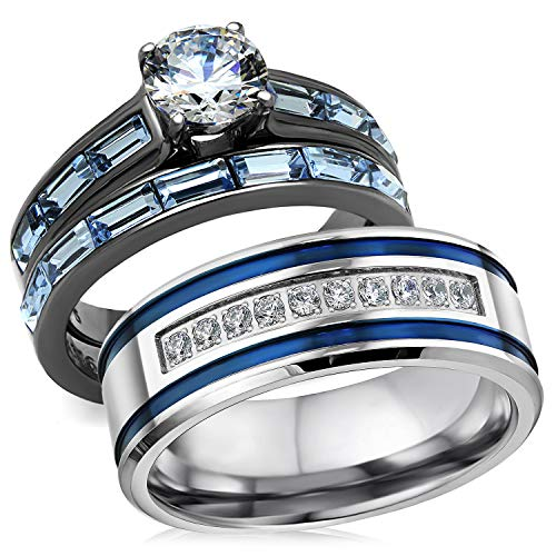 Bellux Style Romantic Blue Wedding Rings Set for Him and Her 3 pcs Stainless Steel CZ Men and Women Couples Rings (Women's Size 07 & Men's Size 13)