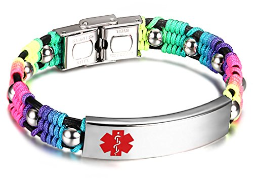 JF.JEWELRY Medical Alert ID Bracelets for Kids with Nylon Rope & Leather Braid Wrap Link,5.5 inch