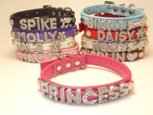 Personalized X-Mas or Regular Charm Custom Fashion Leather Classic Dog Cat Collar Swarovski Crystal Rhinestone Letters Plus Free Charm or Christmas Holiday Charm Limited Editions Black, Hot Pink, Purple, Baby Blue, White, Red, Brown, Silver, Pink Size Xtr