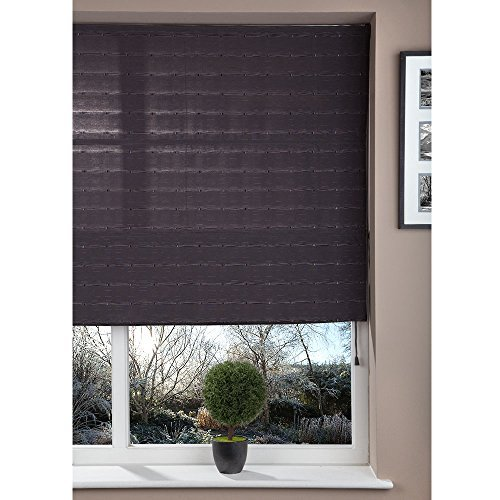 Brooklyn Trading Luxury Fabric Roman Shade Window Wall/Ceiling Blind Squares and Lines Design - Dark Grey (100cm Wide x 160cm Drop)