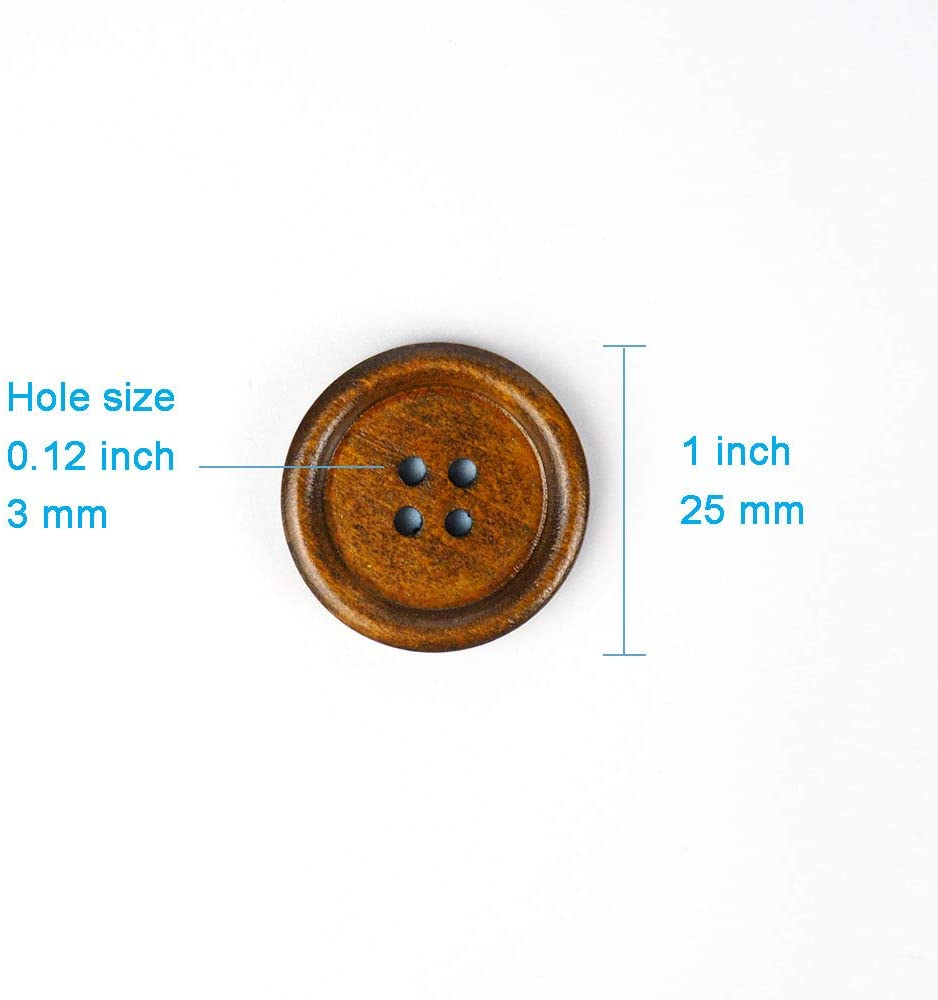 50 Pcs 1 inch Wooden Buttons Brown Color Natural Chestnut Made 4 Holes 25mm Premium Buttons for Sewing Craft Clothing