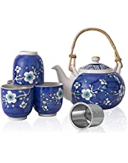 Taimei Teatime Ceramic Japanese Style Tea Set with Hand-Painted Blue Plum Blossom Pattern, 25 fl.oz Teapot Set with Infuser and 4 Tea Cups,