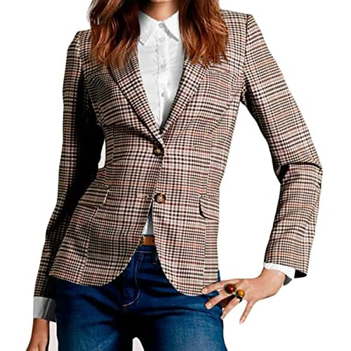 Fulok Women's Casual 2 Button Plaid Patch Work Office Jacket Blazer Coat