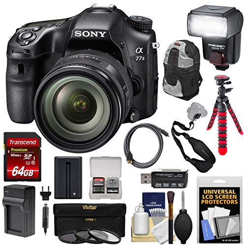 Sony Alpha A77 II Wi-Fi Digital SLR Camera & 16-50mm Lens with 64GB Card + Battery + Charger + Flash + Tripod + Backpack + Kit