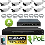 USG 1080P IP PoE CCTV Kit with Audio: 8x 1080P IP PoE 2.8-12mm Bullet Cameras with RCA Audio + 1x 8 Channel 1080P NVR + 1x 9 Port PoE Switch + 8x Ethernet Cables + 1x 2TB HDD *** High Definition Video Surveillance For Your Home or Business Review
