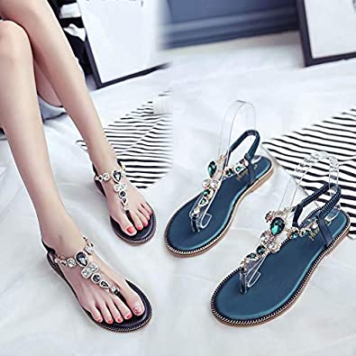 Aribelly Womens T-Strap Buckle Flats Sandals