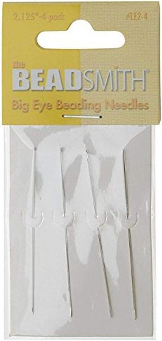 Pack of 4 Beadsmith Big Eye Beading Needles 2.125 Inches Long