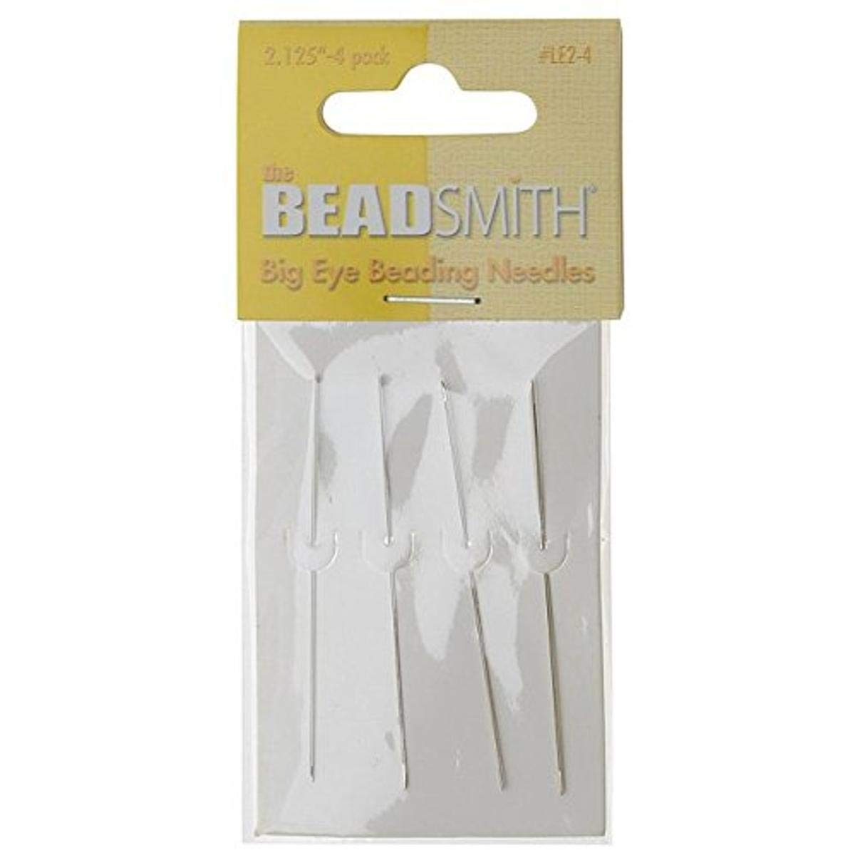 Beadsmith XTL-3166 Big Eye Beading Long Needles (4 Pack), 2.125""