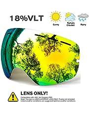 Juli® Skibrille,Verspiegelt Groß für Herren Damen Brillenträger Anti Nebel mit Wechselgläser UV Schutz