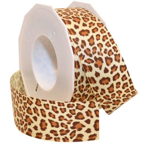 Morex Ribbon Leopard Grosgrain Ribbon, 1-1/2-Inch by 20-Yard, Natural