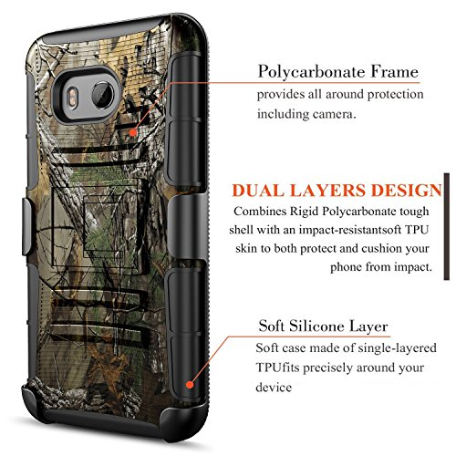 HTC U11 Life Case, Circlemalls Dual Layers [Combo Holster] And Built-In Kickstand Bundled With [Premium Screen Protector] Hybird Shockproof And Touch Screen Pen (Camo)