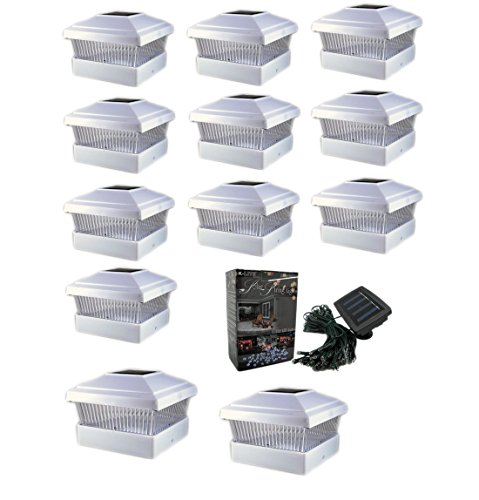 12 Pack 5x5 Outdoor Garden Solar LED (Bright White Color)Post Cap Fence Pathway Landscape Deck Square Decoration Light + Free Bonus 1- 100 LED 40Ft String Solar Decoration Solar Light Bundle by SolarDiscount