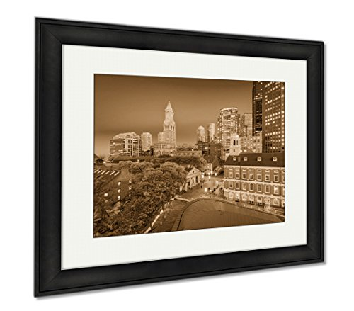 Ashley Framed Prints Boston Massachusetts USA, Wall Art Home Decoration, Sepia, 26x30 (frame size), Black Frame, - Location Faneuil Hall