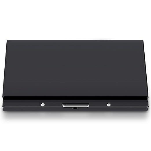 kwmobile Funda portatarjetas con protector RFID-Blocker - Tarjetero de aluminio en negro - con protección RFID para tarjetas importantes: Amazon.es: Oficina ...