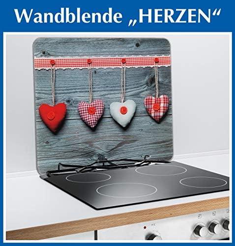 Wenko 2712943500,coprifornello con Cuori per Piano di Cottura in vetroceramica, Tagliere in Vetro, Multicolore